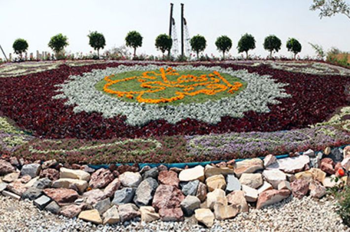 Front view of the floral carpet